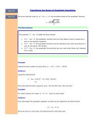 Classifying Roots of quadratic Equations - The Burns Home Page