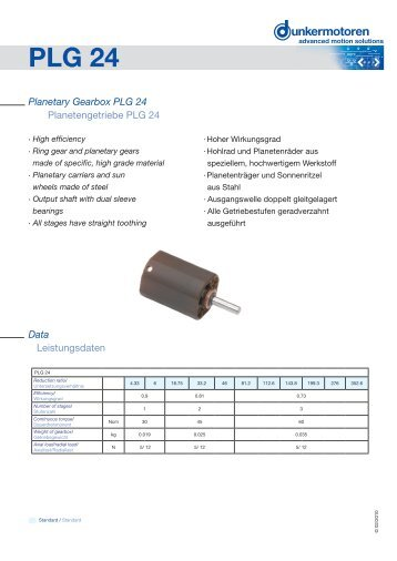 Planetary Gearbox PLG 24 - Dunkermotoren