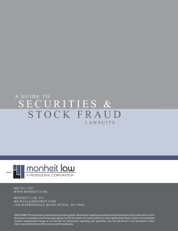 Guide to Securities and Stock Fraud Lawsuits - Michael Monheit