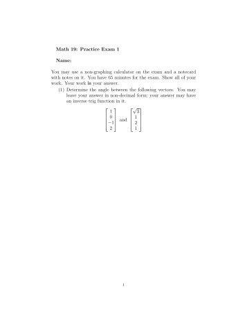 Math 19: Practice Exam 1 Name: You may use a non ... - Westmont
