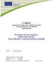 Precaution and risk reduction – Politics and ... - CARGO Project