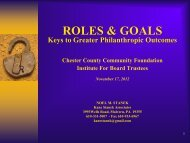 ROLES & GOALS - Chester County Community Foundation