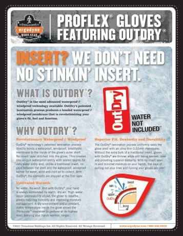 ProFlex® Gloves with OutDry® Product Flyer - Ergodyne