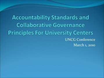 Accountability and Collaborative Governance Standards for Centers