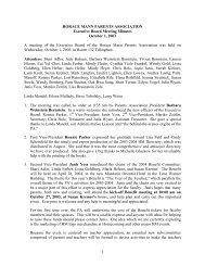 Minutes from the PA Executive Board 10/1/03 - Horace Mann School