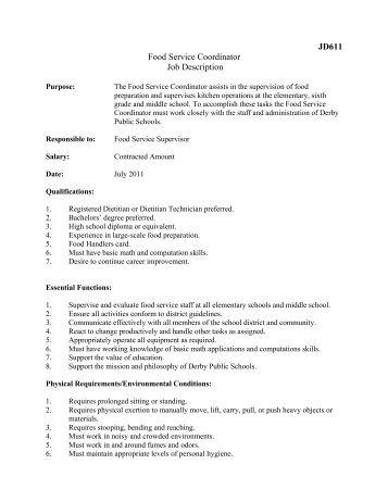 JD611 Food Service Coordinator Job Description   Derby Public .