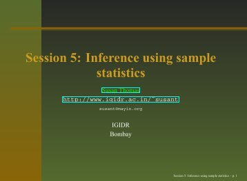 Session 5: Inference using sample statistics