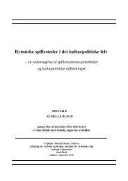 Spillesteder, kulturpolitik og synet på rytmisk musik ... - Dansk Live