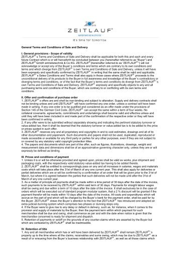 General Terms and Conditions of Sale and Delivery I. General ...