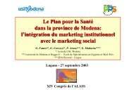 Les Plans pour la Santé - Marketing sociale e Comunicazione per la ...