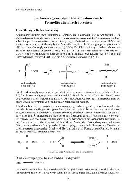 Bestimmung der Glycinkonzentration durch Formoltitration nach ...