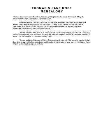thomas & jane rose genealogy - The Rose Family Society Australia