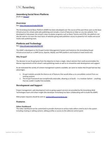 The Annenberg Social News Platform (ASNP) - Uscannenberg.org