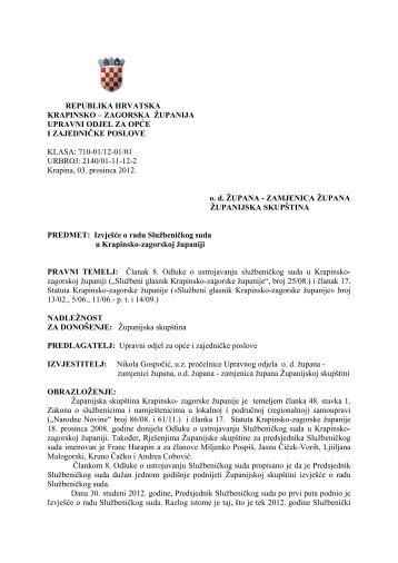 Izvješće o radu Službeničkog suda u Krapinsko-zagorskoj županiji
