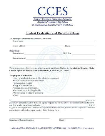 STUDENT RECORD RELEASE FORM The below named student ...