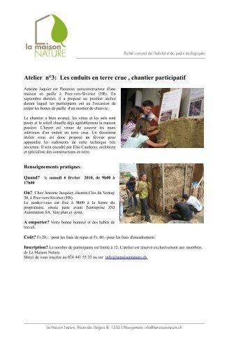 Atelier n°3: Les enduits en terre crue , chantier ... - La Maison Nature