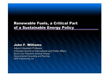 Renewable Fuels, a Critical Part of a Sustainable Energy Policy