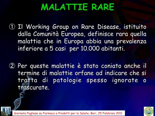 MALATTIE RARE - Farmacia