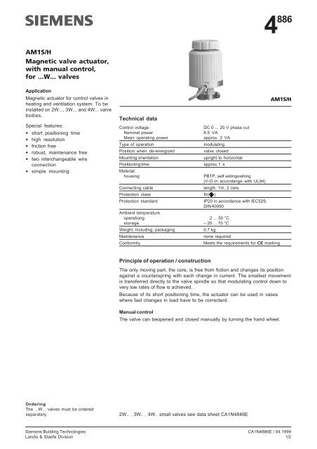 AM1S/H Magnetic valve actuator, with manual control, for    W    valves