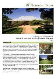 National Trust Venue Hire   Cooma Cottage - NSW