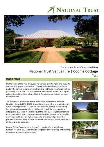National Trust Venue Hire | Cooma Cottage - NSW