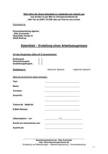 Datenblatt – Erstellung eines Arbeitszeugnisses - Elke Zuchowski ...