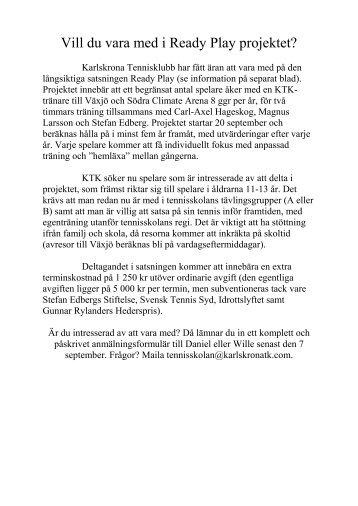 Vill du vara med i Ready Play projektet? - Karlskrona Tennisklubb