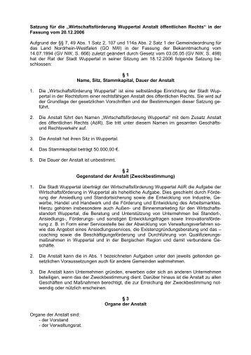 """Satzung für die """"Wirtschaftsförderung Wuppertal ... - Stadt Wuppertal"""