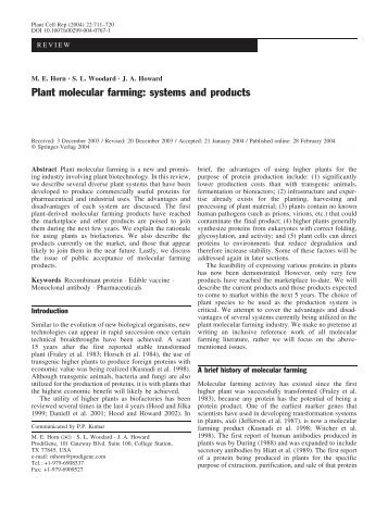 Plant molecular farming: systems and products - Oregon State ...
