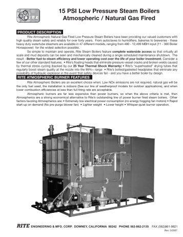 15 PSI Low Pressure Steam Boilers Power Burner ... - California Boiler