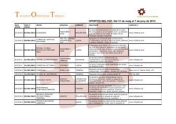 Ofertes del TOT del 31 de maig al 7 de juny de 2013.pdf - Consell ...
