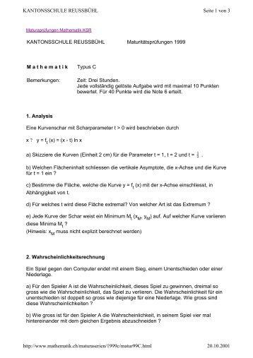 KANTONSSCHULE REUSSBÜHL - Unterricht