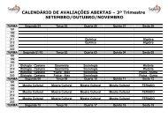 CALENDÁRIO DE AVALIAÇÕES ABERTAS – 3º Trimestre ...