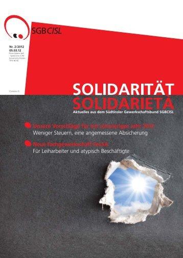 Unsere Vorschläge für ein schwieriges Jahr 2012 - SGB - CISL