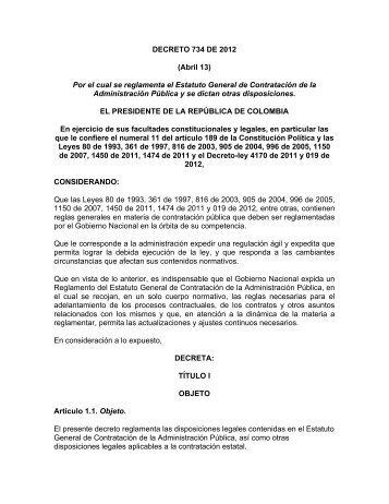 DECRETO 734 DE 2012 (Abril 13) Por el cual se reglamenta ... - ESU