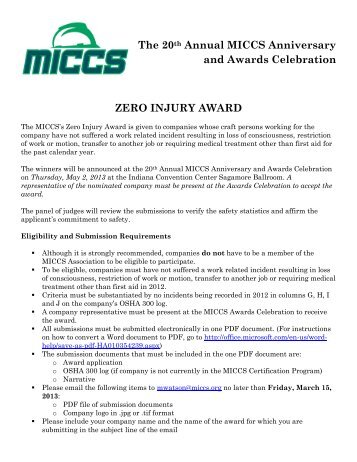 The 20th Annual MICCS Anniversary and Awards Celebration ZERO ...
