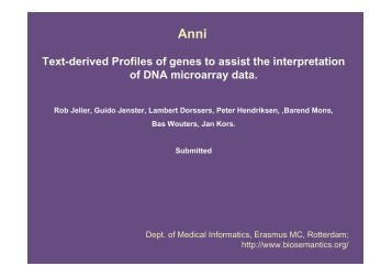 Text-derived Profiles of genes to assist the interpretation of DNA ...