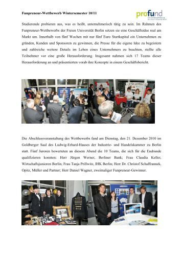 9. Funpreneur-Wettbewerb - Wintersemester 2010 - Freie Universität ...