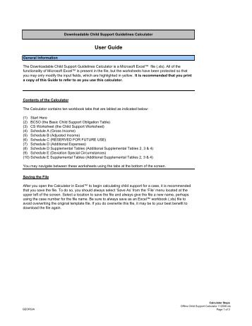 Primary Physical Custody Child Support Calculation Worksheet