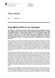 Press release Expo Milano 2015 on our doorstep