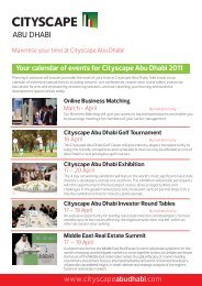 Your calendar of events for Cityscape Abu Dhabi ... - IIR Middle East