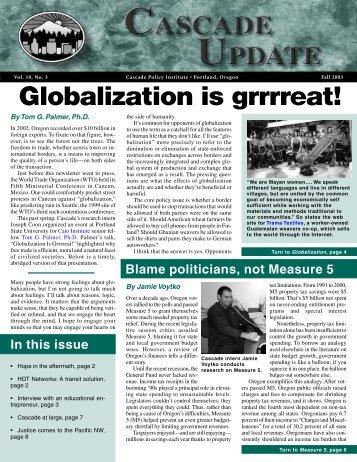 Fall 2003 - Cascade Policy Institute