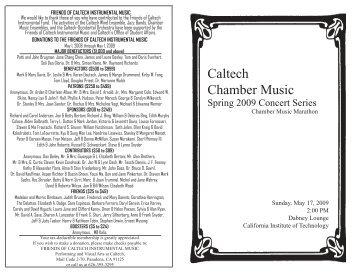 May 17, 2009 - Caltech Performing and Visual Arts