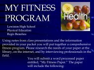 MY FITNESS PROGRAM - Lewiston School District