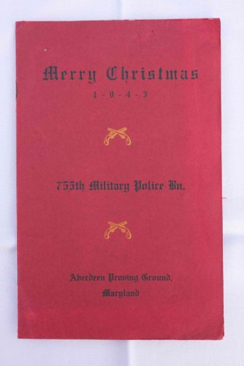 1943 Christmas Menu and Roster, 755th Military Police Battalion
