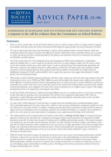 Commission on School Reform - The Royal Society of Edinburgh