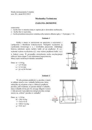 Mechanika Techniczna ZADANIA DOMOWE - dziewiecki@pr.radom.pl