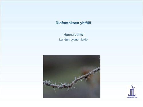 Diofantoksen yhtälö - Lahti