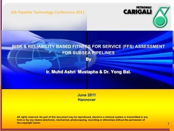 Risk & Reliability Based Fitness For Service - 8th Pipeline ...