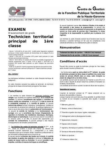 Examen technicien territorial principal de 2eme classe - Grille indiciaire technicien principal 2eme classe ...
